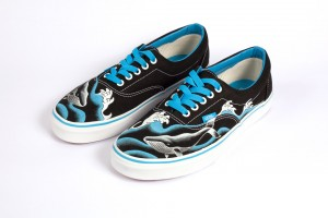 FindArt Design scarpe decorate a mano mod whale