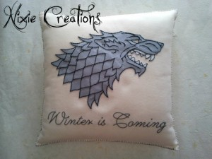 Nixie Creations cuscino handmade Game of Thrones Stark